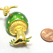 Bright green enamel Mushroom pin with trembler bumble bee