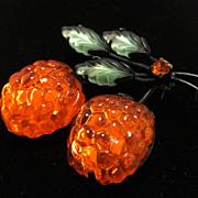 RARE! Bright orange Raspberry Austrian Fruit glass brooch