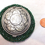 Late 1880s Tam O'Shanter antique coin purse with glass beads