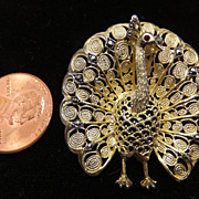 Early Alice Caviness Sterling Peacock pin with gold wash and stones