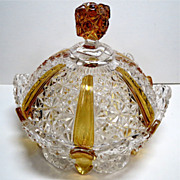 Ellrose EAPG Amber Stained Covered Butter Dish
