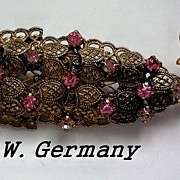 REDUCED Austrian Crystal Filigree Fish Brooch from W. Germany