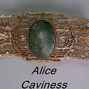 REDUCED Alice Caviness 14K Gold Filled Filigree Brooch