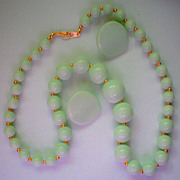 REDUCED Pale Green Necklace & Pierced Earrings