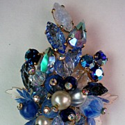 SALE Juliana Blue Hues Fruit Salad Brooch