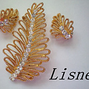SALE Lisner Golden Leaves Earrings and Brooch