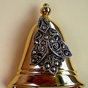 REDUCED Christmas / Holiday Bell with Marcasites Accent - Signed Darlene