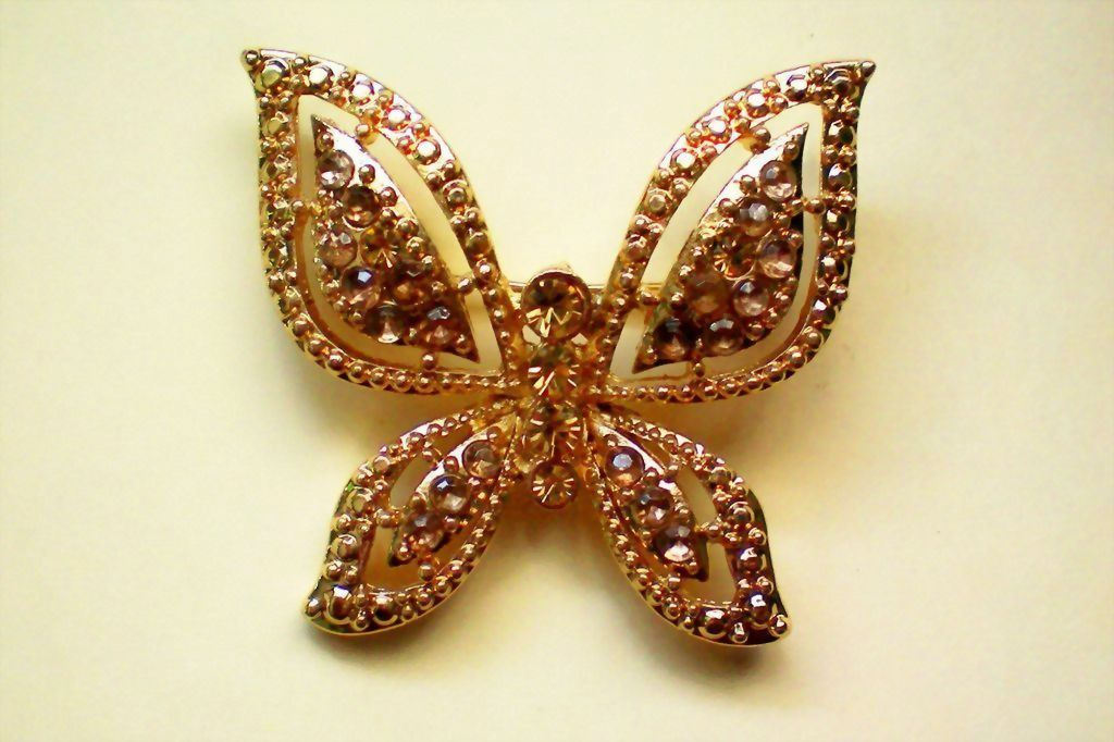 Gold Tone Metal Butterfly with Amber Colored Stones