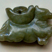 REDUCED Carved Jade, Jadeite Horse Pendant