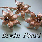 REDUCED Erwin Pearl Gold Tone Lily Set, Brooch & Earrings