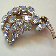 REDUCED Rhinestone Flower Brooch