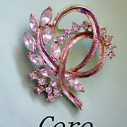 REDUCED CORO Brooch with Round and Marquis Cut Rhinestones