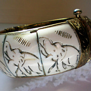 REDUCED Hinged Ivory Bangle with Elephants from India