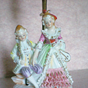 REDUCED Porcelain Figural Boudoir Dresser Lamp of French Figurines