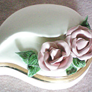 SALE Unusual shaped Ceramic Dresser / Trinket Box with Applied Roses