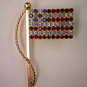 REDUCED American Flag Pin with Red, White, Blue Rhinestones