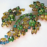 REDUCED Glitzy Green, Amber, Blue Brooch and Earrings