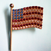 SALE American Flag Pin with Pave Rhinestones