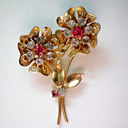 REDUCED Book Piece Look Alike Floral Pin