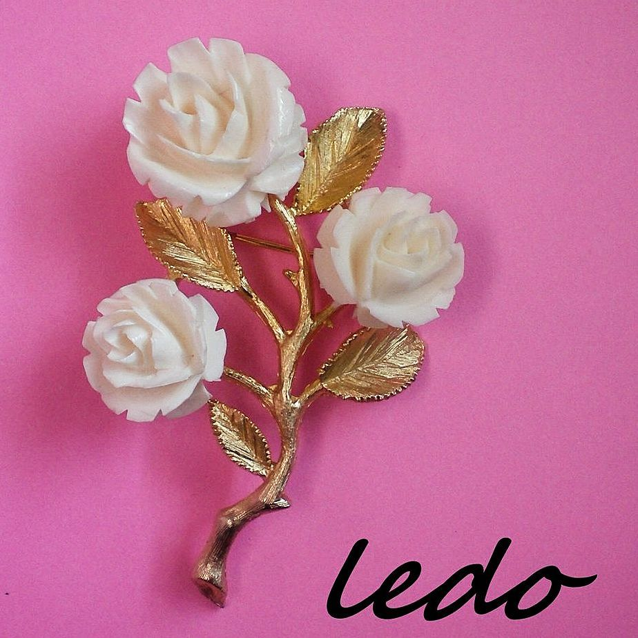 Celluloid Roses Brooch by Ledo