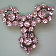 REDUCED Large Foil Backed Pot Metal Rhinestone Brooch