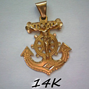REDUCED 14K Gold U.S. Navy Anchor with Crucifix