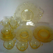 REDUCED Lancaster Jubilee Depression Glass Luncheon / Dessert Set of 4
