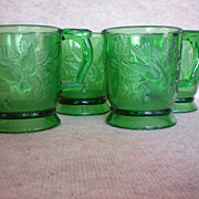 REDUCED Mosser Glass Cups with Bird  Set of Four
