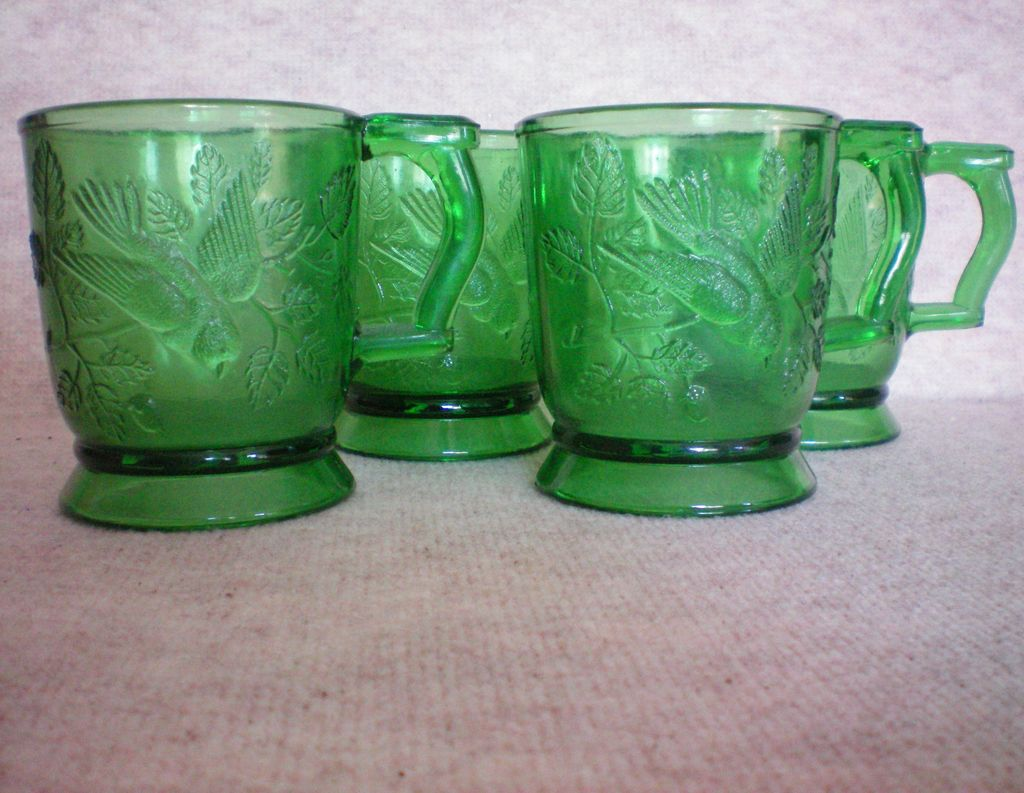 Mosser Glass Cups with Bird &ndash; Set of Four