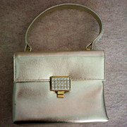 REDUCED Walborg Silver Leather Rhinestone Studded Envelope Purse