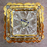 REDUCED 22Kt Gold Rimmed Nesting Ashtrays by Federal Glass Co.