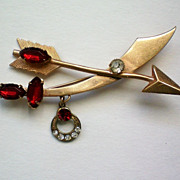 REDUCED Sword Arrow and Crescent with Ruby Red Rhinestones