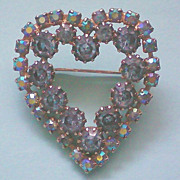 REDUCED Dazzling Blue Aurora Borealis Heart Pin