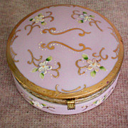 Pink Porcelain Trinket / Vanity / Dresser Box