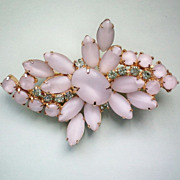 REDUCED Moonstone White Glass Vintage Brooch