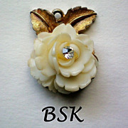 REDUCED BSK Celluloid Rose Pendant