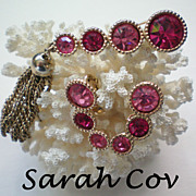 REDUCED Sarah Coventry Hot Pink Bar Pin & Earrings Set