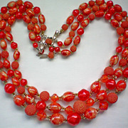 REDUCED Three Strand Red / Orange Bead Necklace