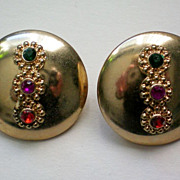 REDUCED Three Stone Accent Disc Clip Earrings