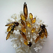 REDUCED Amber Rhinestone Brooch & Earrings