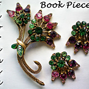 REDUCED Florenza Book Piece Brooch & Earrings