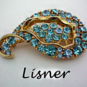 REDUCED Lisner Brooch with Aqua Stones