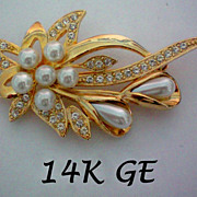 REDUCED 14K GE Faux Pearl and Rhinestone Brooch by LIND