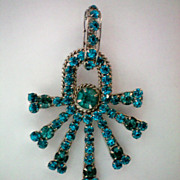 REDUCED Blue Rhinestone Pin/Brooch or Necklace Pendant