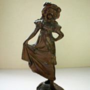 REDUCED Metal Paper Weight / Curio - Girl from Germany
