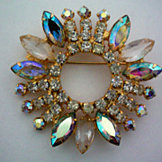 REDUCED Aurora Borealis & Clear Rhinestone Wreath Pin