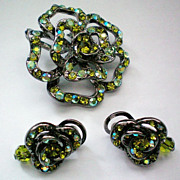 Crystal Rose Brooch and Earrings in Green Aurora Borealis