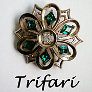 REDUCED Trifari Philippe Diamond Cut Emerald Green Brooch  Pat Pend.
