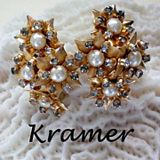 REDUCED Kramer Floral Cluster Earrings with Faux Pearls & Rhinestones