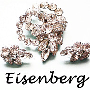 Eisenberg Diamante Dimensional Brooch & matching Earrings